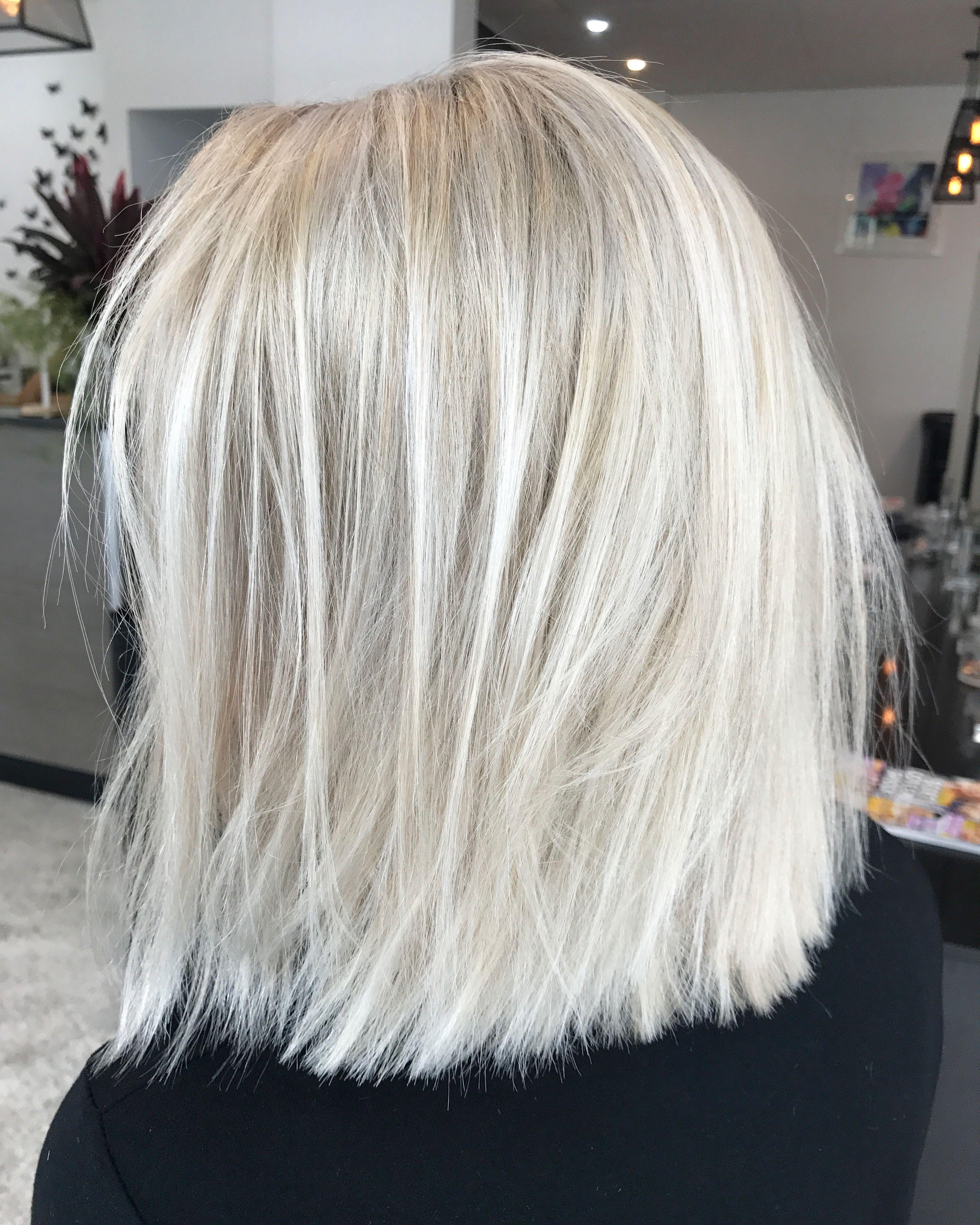 Blonde lob Textured short hair Colour Lived in hair colour Cool ash
