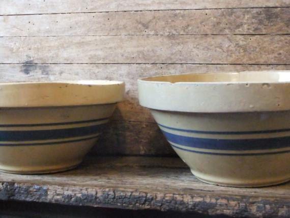 Antique Yellow Ware Bowls Blue Stripe Set By Treasuredprimitives