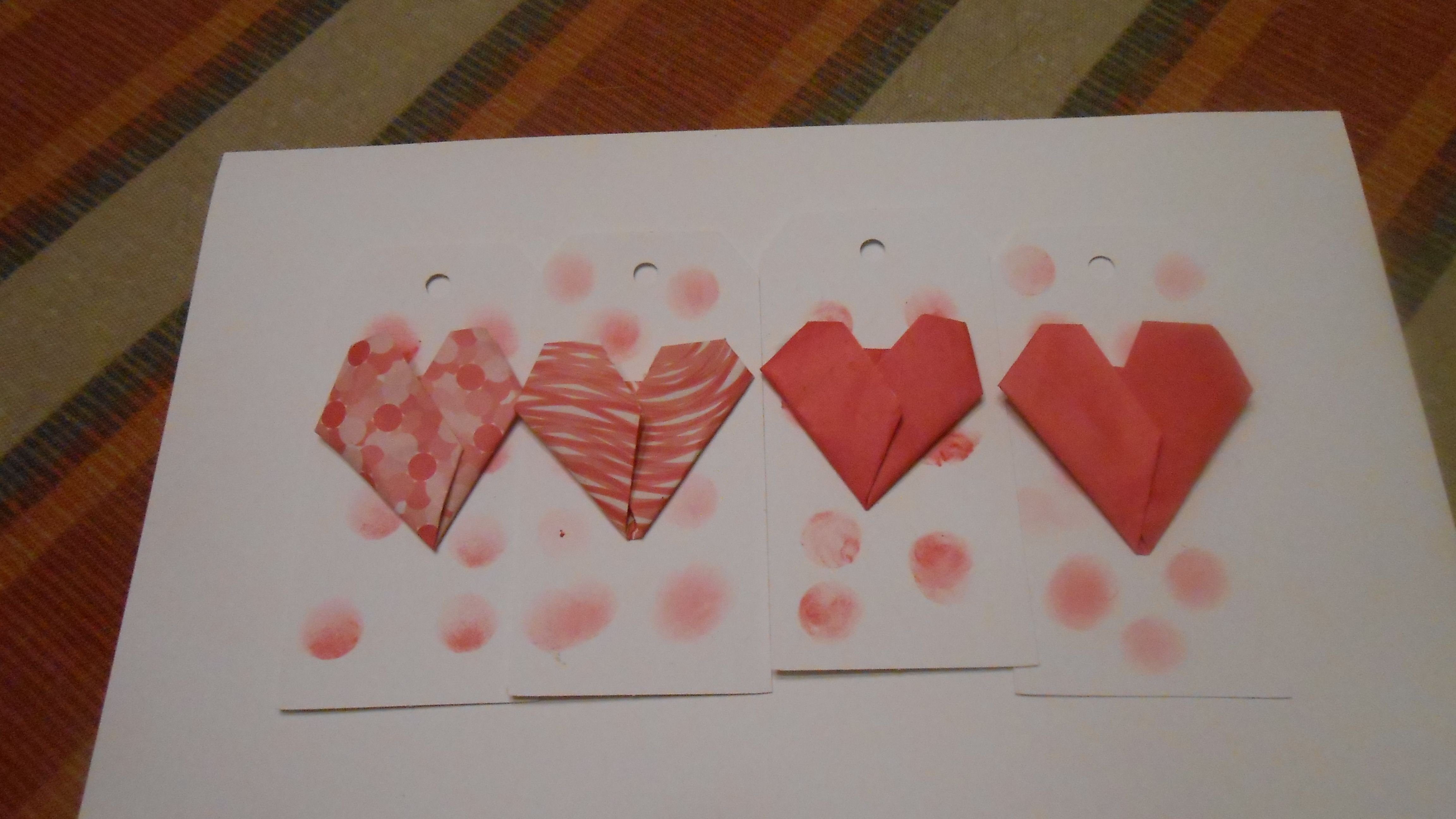 Valentines Day gift tags/Origami gift tags/ Paper heart gift tags by jmb paper designs, $7.00 USD