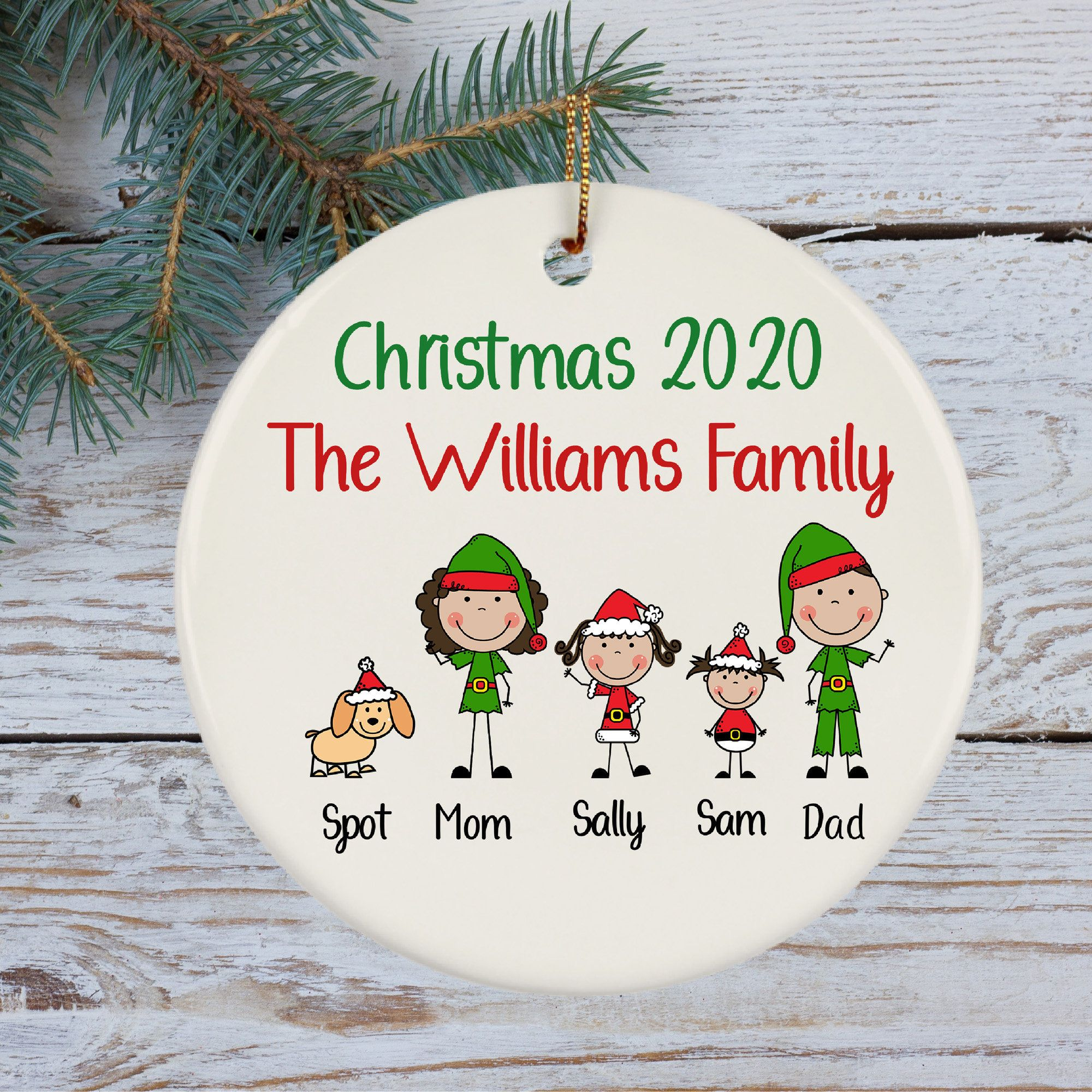 Personalized Christmas Ornament Dated Christmas 2020 Family Etsy Christmas Ornaments Personalized Christmas Personalized Christmas Ornaments