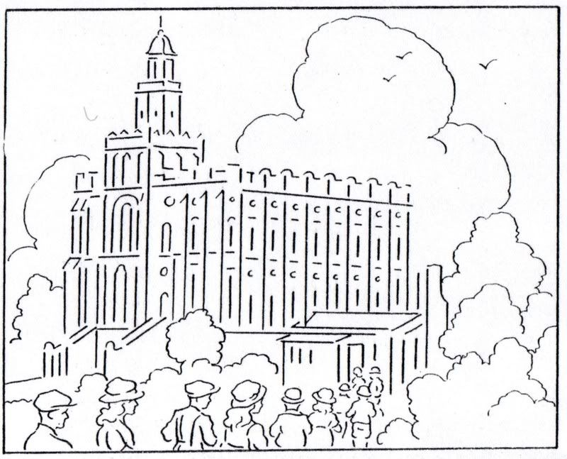 Mormon History Coloring Book 1923 August Temple Building