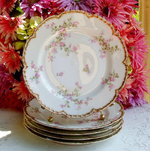 5 Antique Haviland Limoges Porcelain Dinner Plates Pink Floral ...