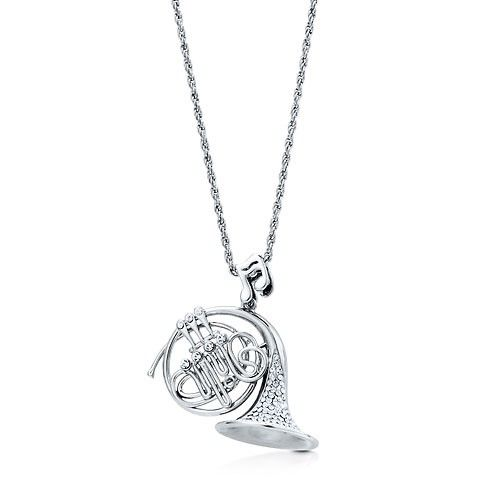 French Horn Musical Instrument Sterling Silver Charm Necklace Pendant with 18 inch Silver Chain Wy3KGL