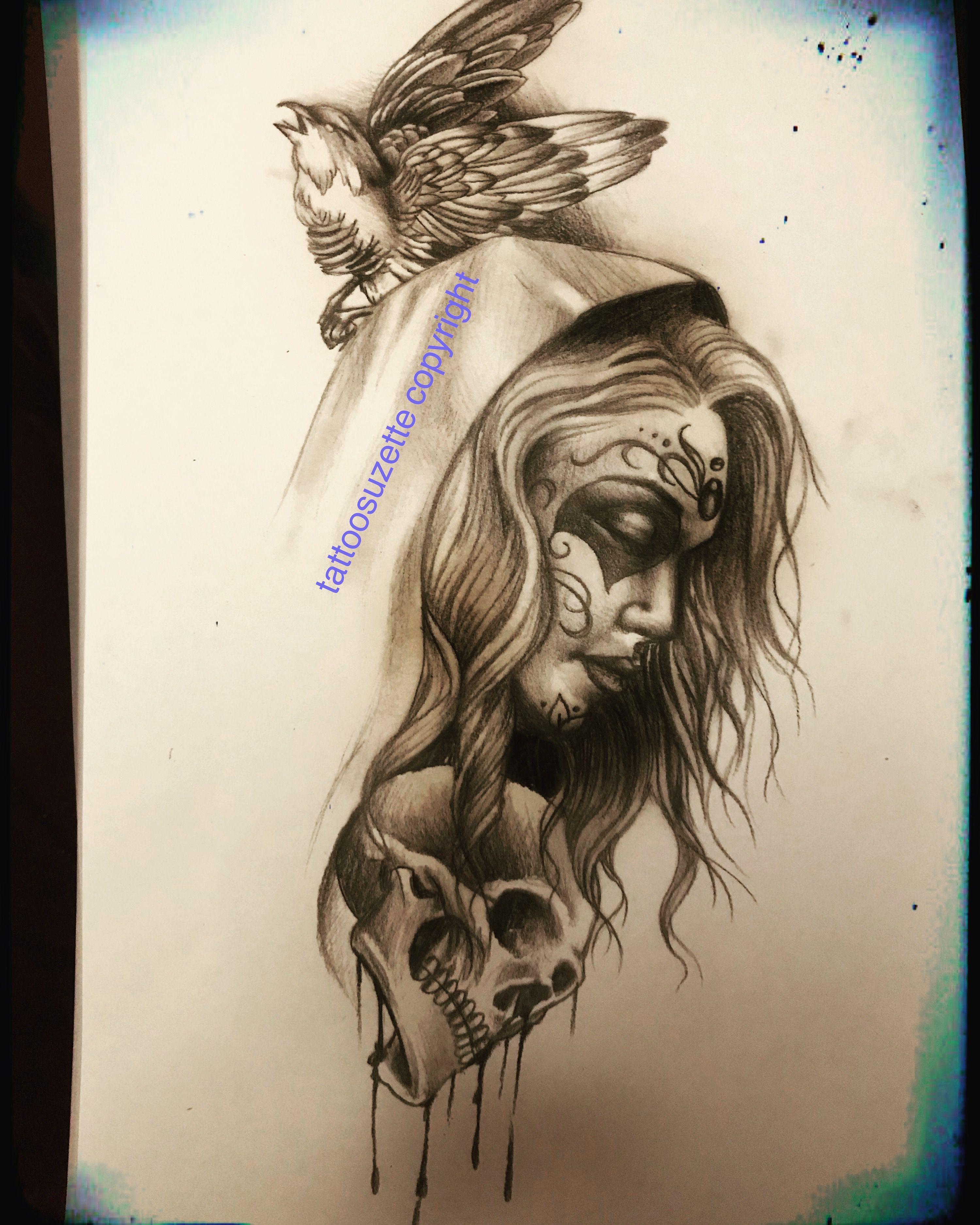 Santa Muerte Tattoo Design Santamuerte Santamuertetattoo Tattoodesign Santamuertetattoodesign Katrinata Half Sleeve Tattoos Designs Tattoo Designs Tattoos