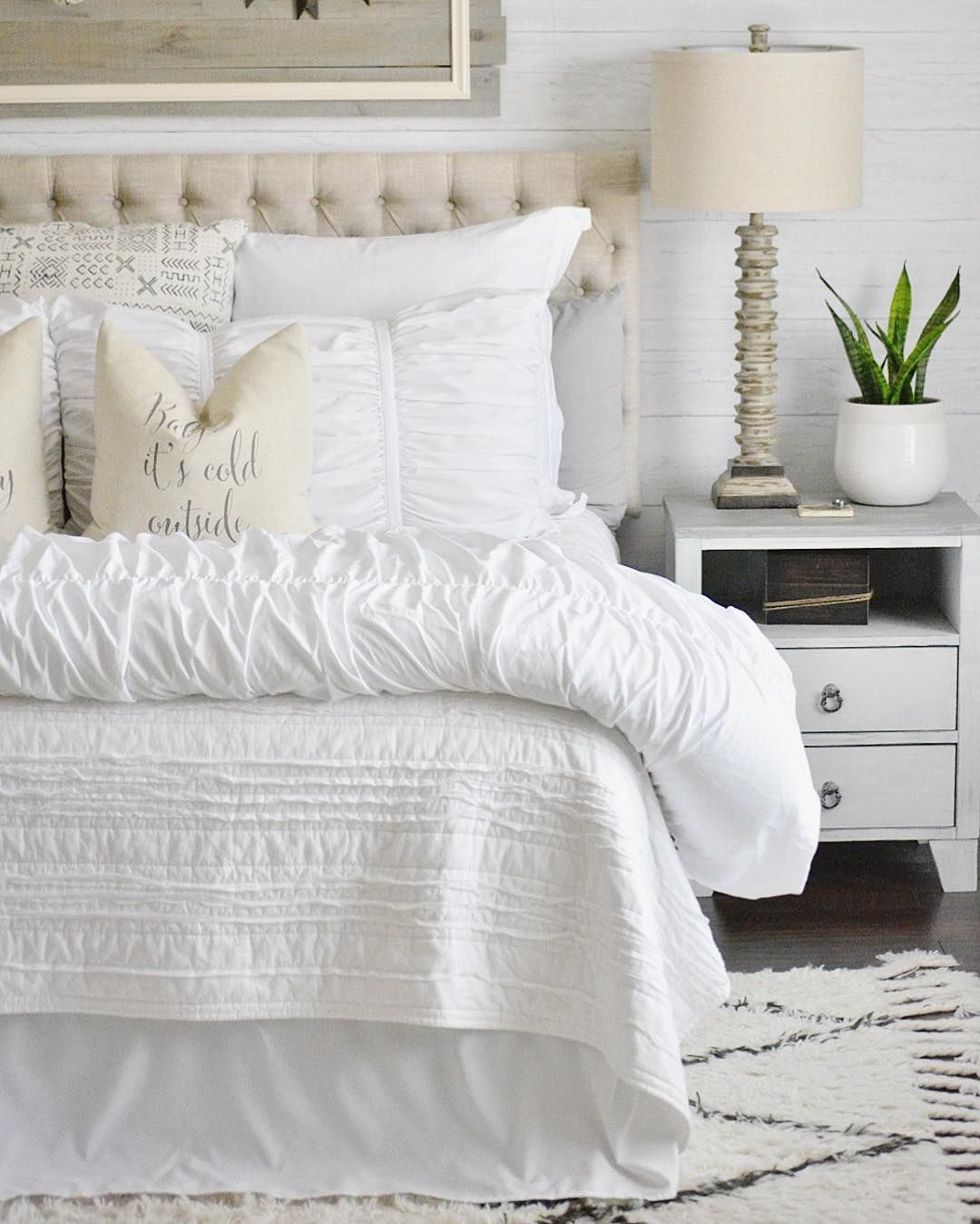 Shiplap Feature Wall In A Master Bedroom Using Temporary Peel And Stick Wallpaper Home Bedroom Inspirations Home Decor
