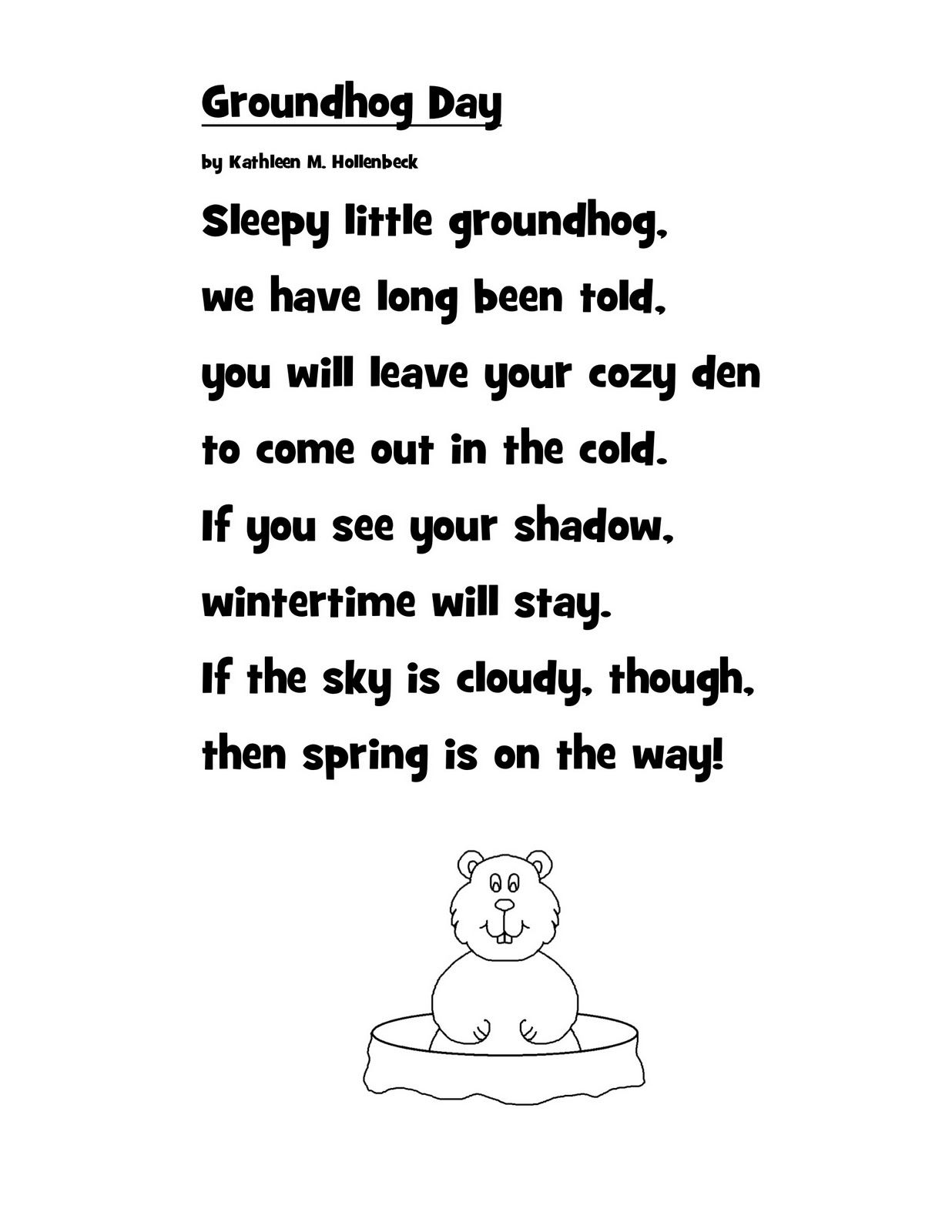 Poem Groundhog Day From Just 4 Teachers Sharing