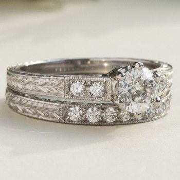 Engraved Diamond Wedding Ring With Nine Diamonds Engraved