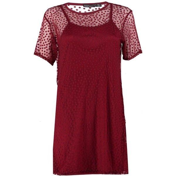 632fe32709 Boohoo Petite Holly Spot Mesh T-Shirt Dress (391.200 IDR) ❤ liked ...