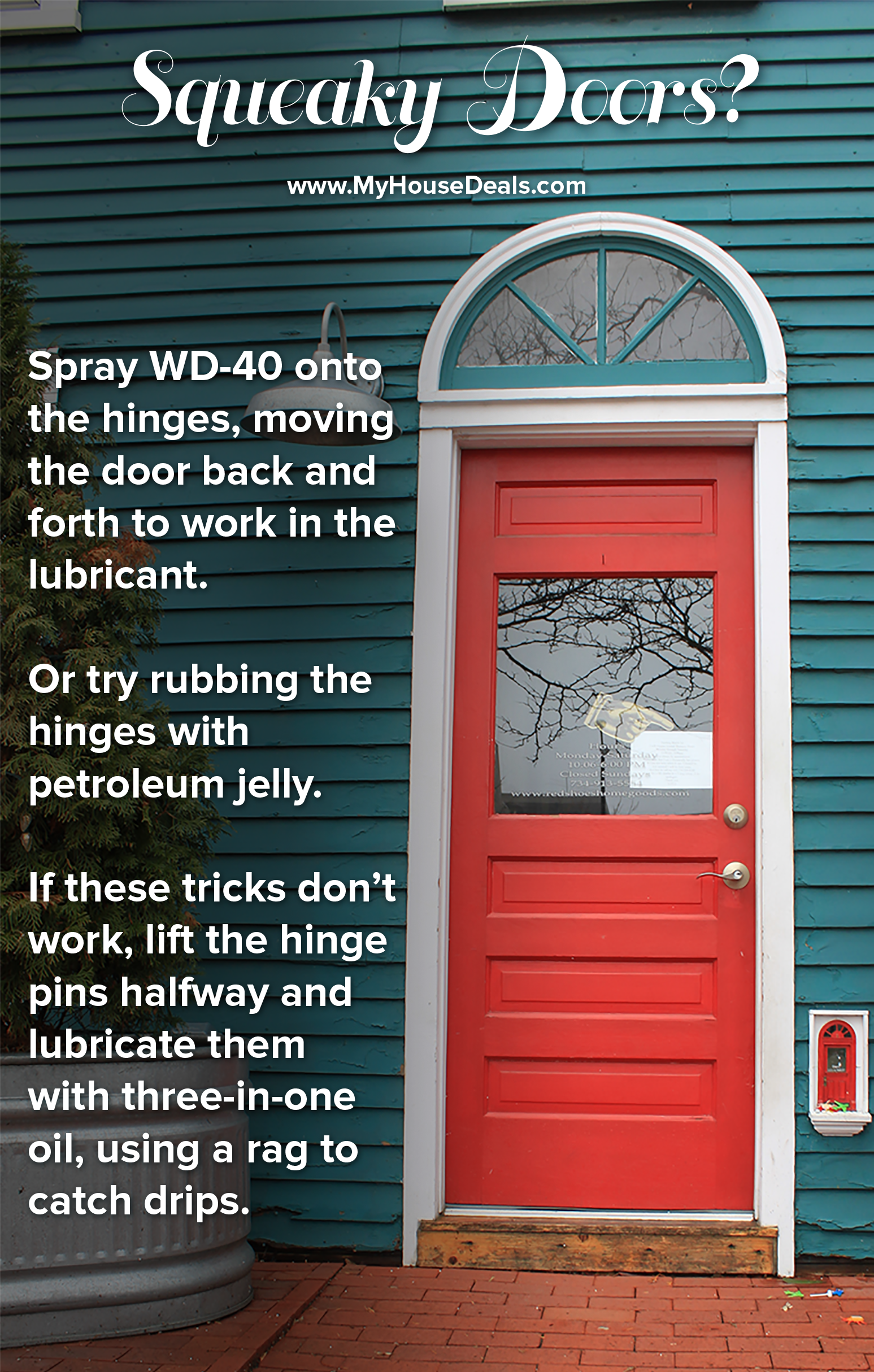 How To Fix Squeaky Door Hinges Spray A Little WD-40 Onto The Hinges & Door Hinge Creaks \u0026 You\\u0027re Starting To Think You Live In A ...