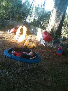 Trampoline into a swing!