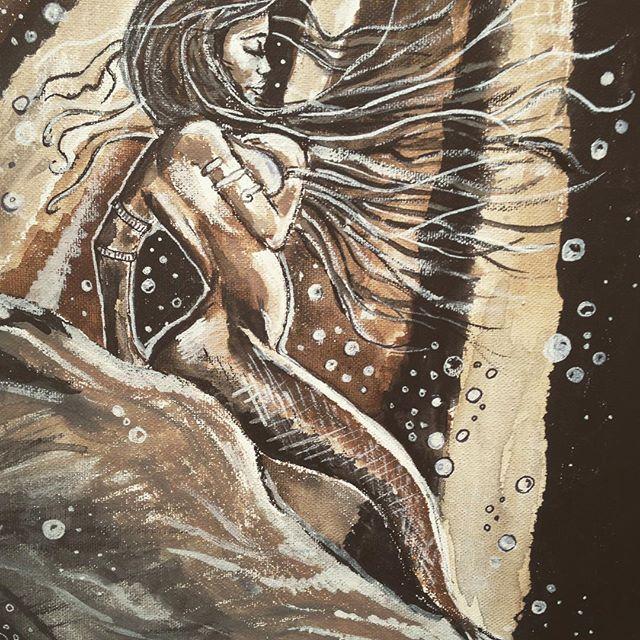 'Solitude' #lovetopaint #art #fineart #artshow #artshowings #instaart #instaartist #kunst #lovetopaint #loveart #zeemeermin #mermaid #oceantheme #schilderij #schilderen #drawing #acrylicpainting #acrylicpaintoncanvas #gallery #debkoffpaintings