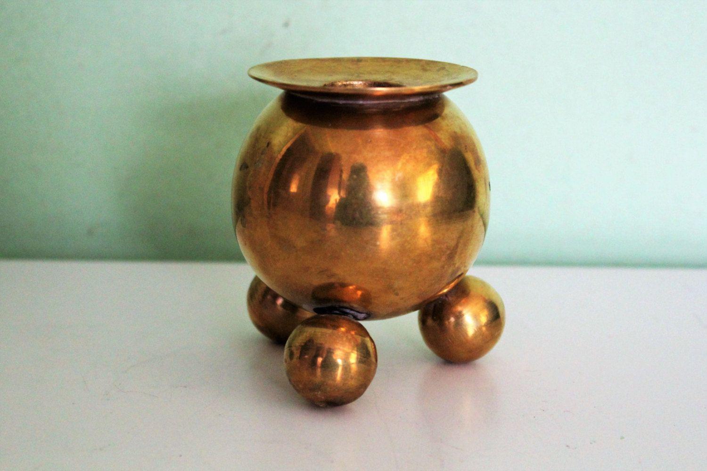 Vintage Solid Brass Candle Holder Scandinavian Candlestick Etsy Brass Candle Holders Candle Holders Round Candle Holder
