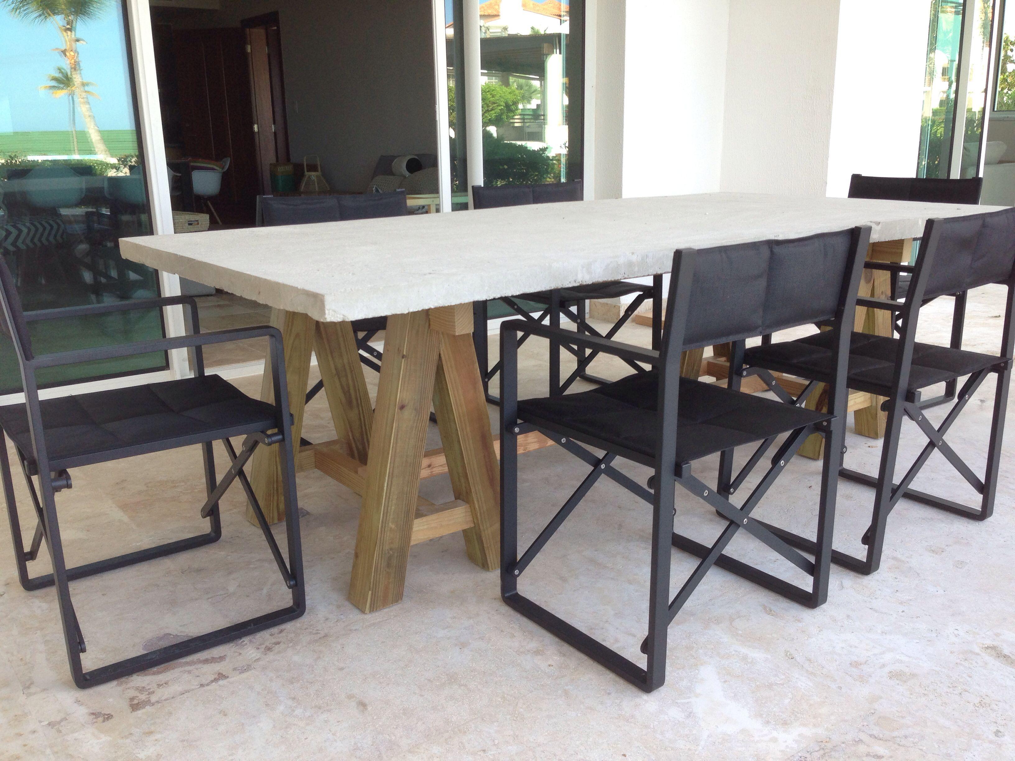 mesa terraza comedor madera hormig n cemento cemento