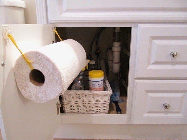 Diy Under Sink Paper Towel Holder 2 Hooks And Ribbon Towel
