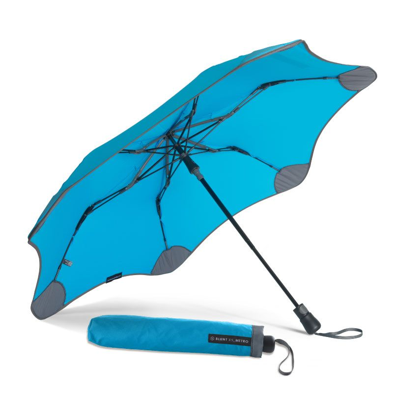 Blunt Compact XS Metro Blue UV 50+ - A revolution in umbrella design. Stylish Features. Windproof Structure. 2 Stage collapsible frame.