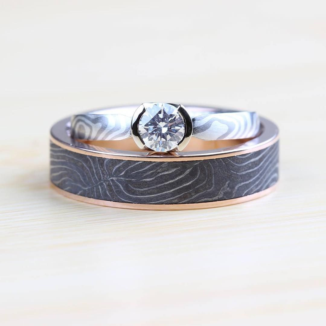 Instagram Moe Engagement Of White Gold Silver Paired With Our Vintage Damascus Shotgun Barrel Ring In