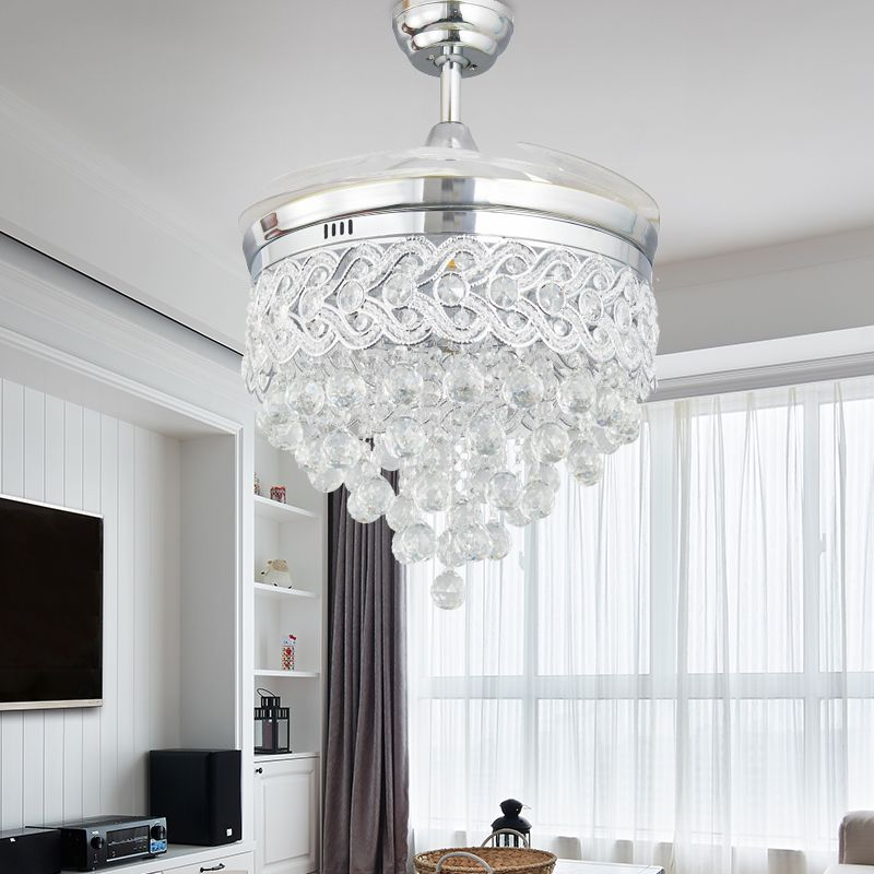 Modern LED Chrome Crystal Ceiling Fan With Lights Bedroom Living Room Folding Remote Control