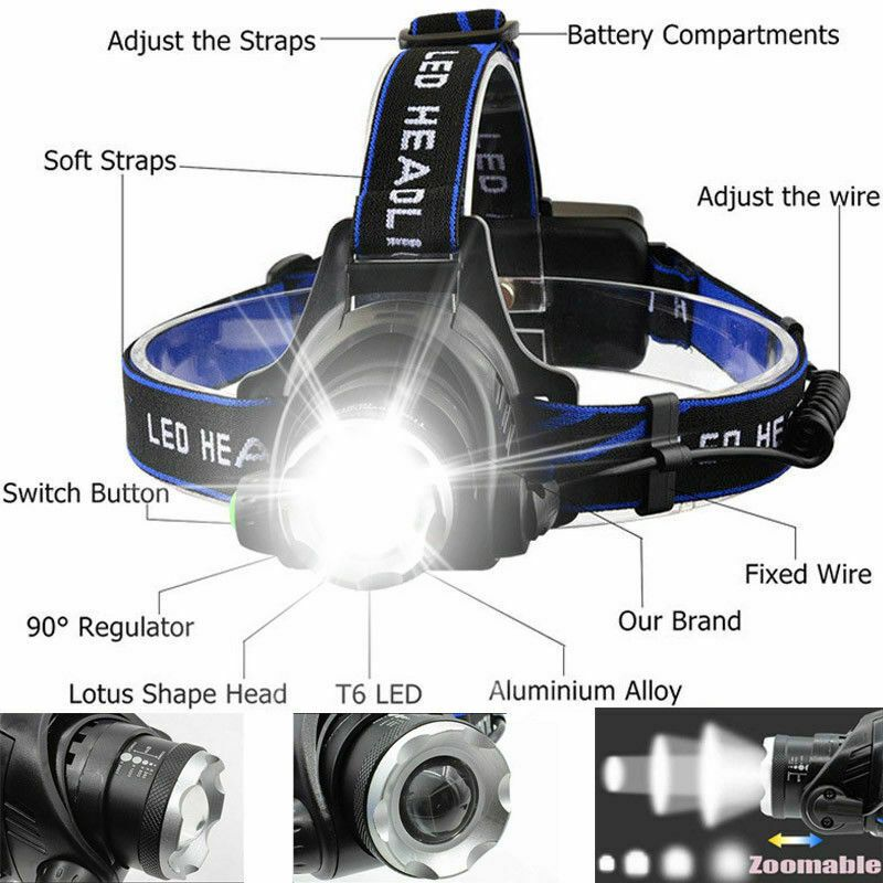90000LM Rechargeable T6 LED Headlamp Headlight Light Flashlight Head Lamp Torch