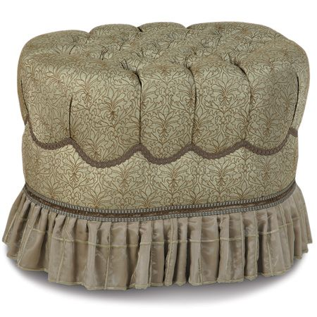 Coventry tufted ottoman..  Oval elegant ottoman with tufted top and called trim around sides. skirted bottom.  Great for vanity or bedroom use.  DesignNashville.com Opulent Bedding and accent furniture shipping to all locations.