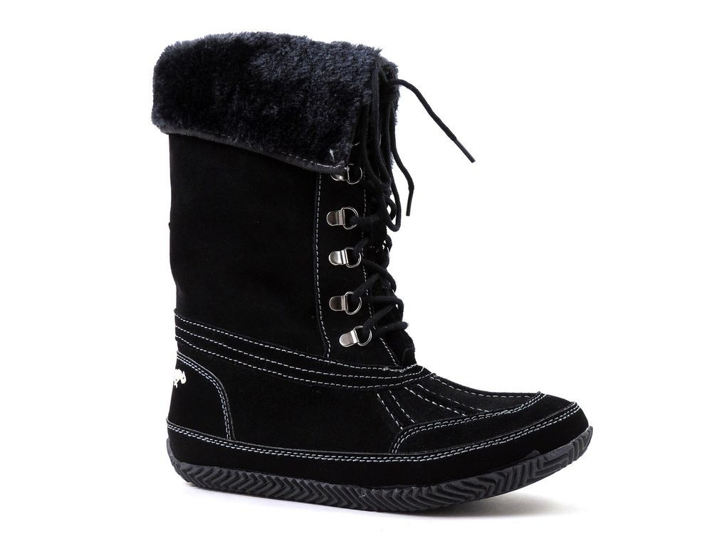 Rocket Dog Women's Trouble Snow, Winter Suede Boots Black & Faux Fur Size 7.5 M #RocketDog #SnowWinter