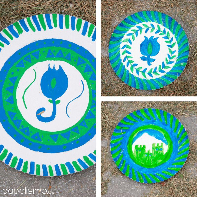 Platos carton pintados ceramica manualidades dia de la cruz children ni os pinterest - Manualidades con papel pintado ...