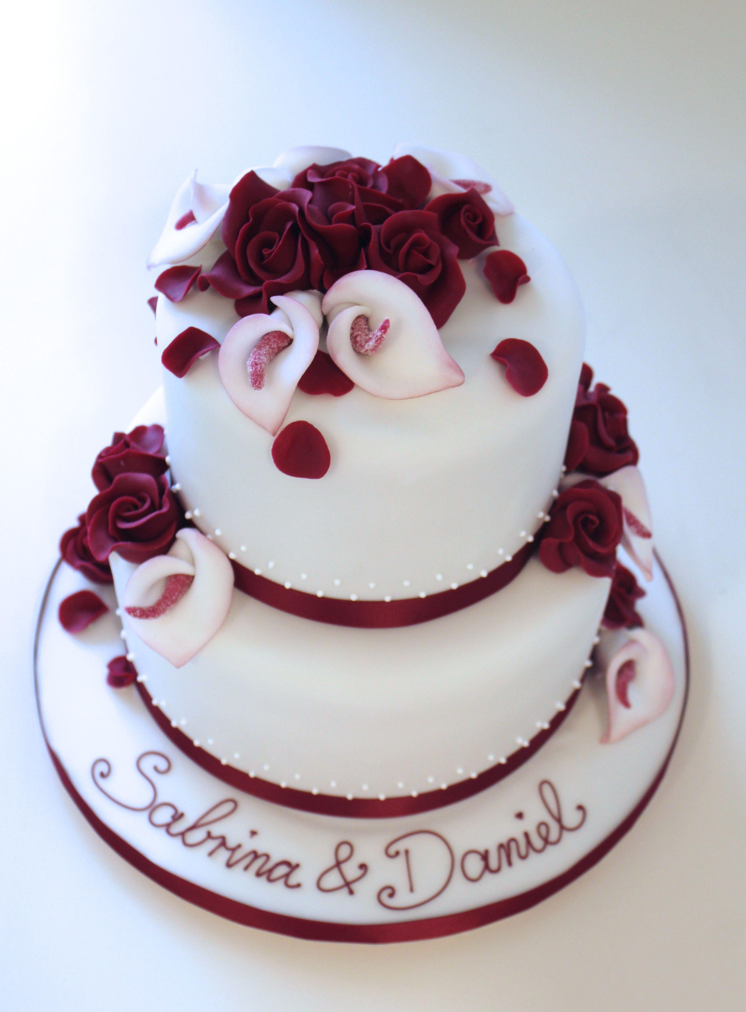 Hochzeitstorte Mit Callas Und Roten Rosen Aus Zucker Cakes