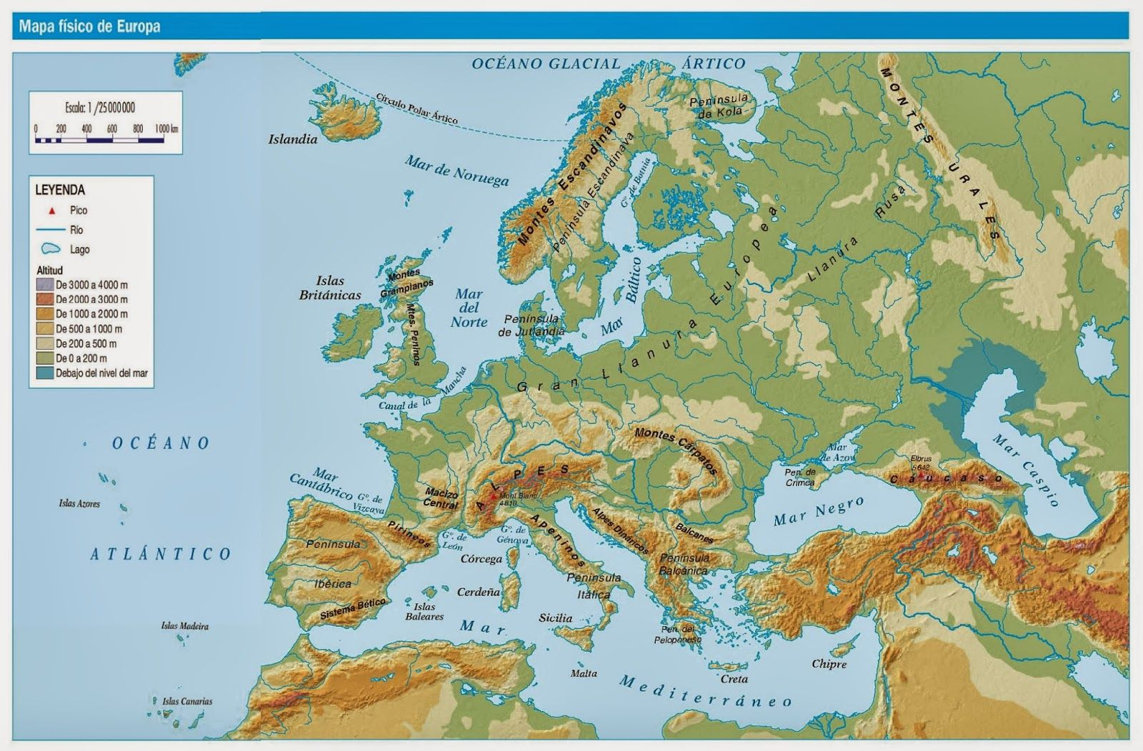 Mapa Mudo Relieve Europa.Blog De Sociales 1º Eso Relieve Europa Mapa Fisico De