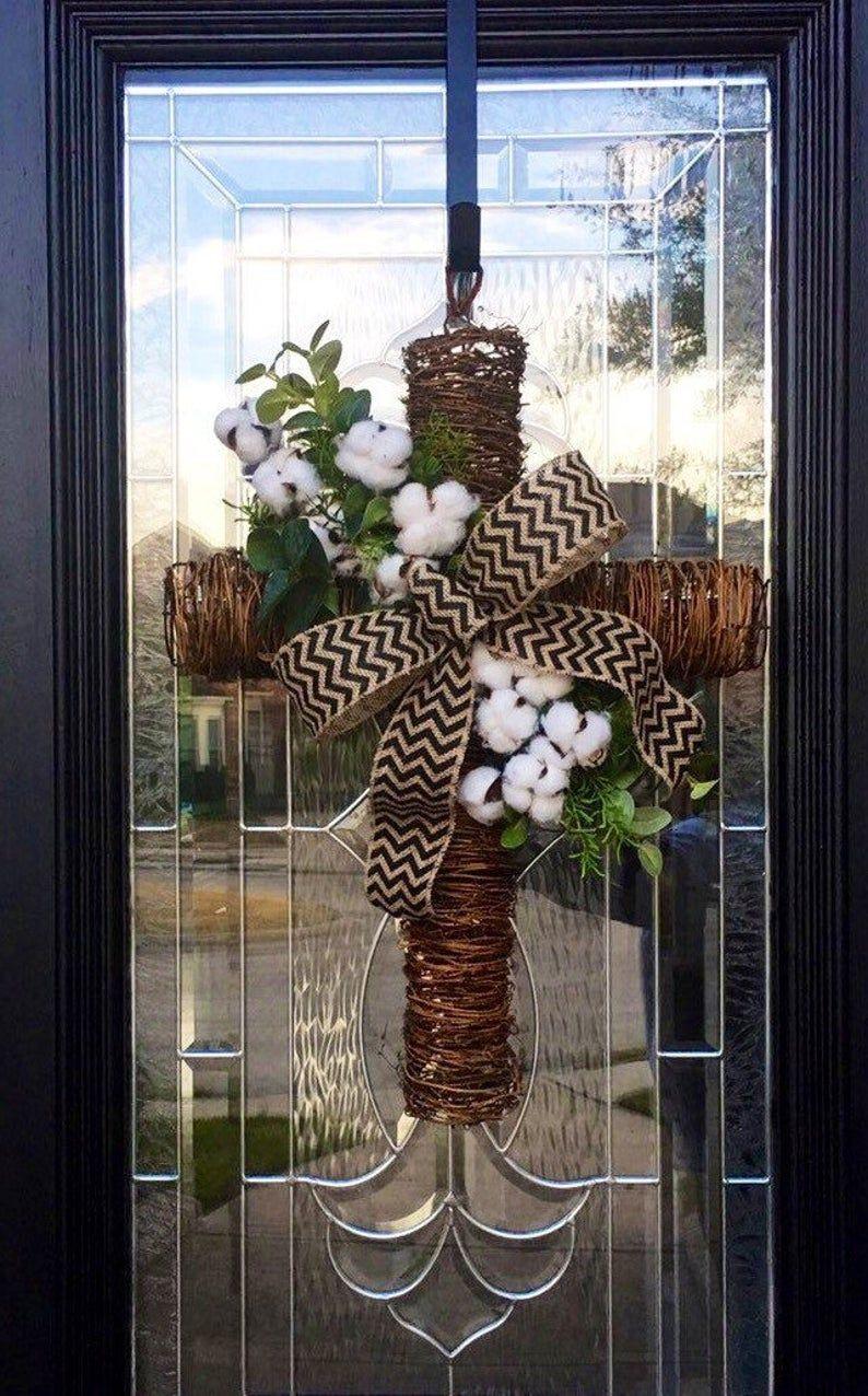 Cross door hanger everyday wreath farmhouse door decor