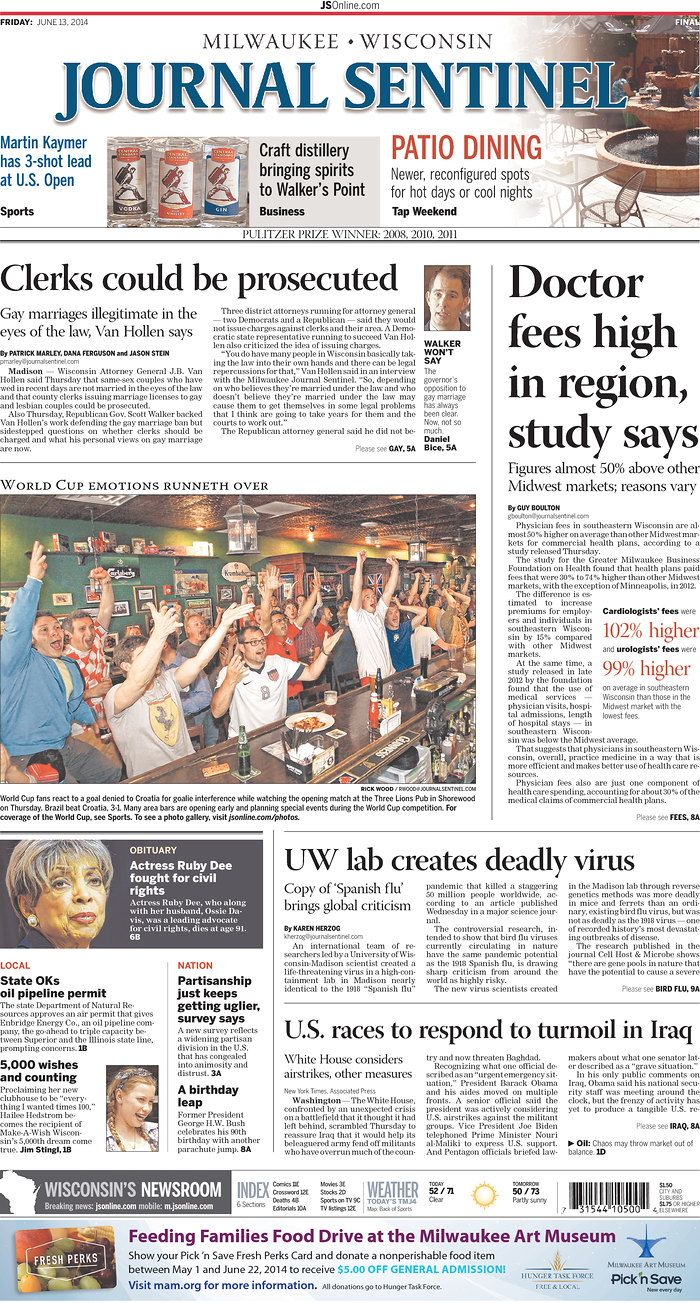 Cover of the Milwaukee Journal Sentinel - Opening Day of World Cup 2014WI_MJS.jpg
