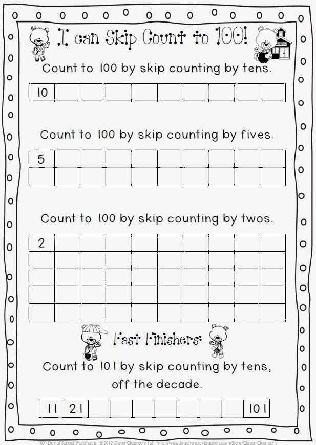 RACE TO 100 A 100 days of school freebie – 100 Days of School Worksheets for Kindergarten