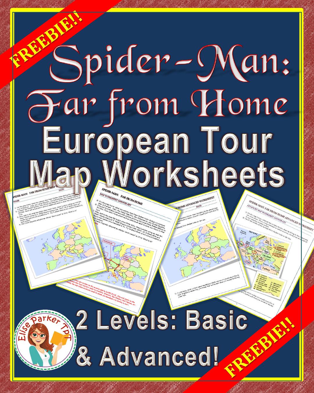 Free Spider Man Far From Home Map Worksheet Set Freebie