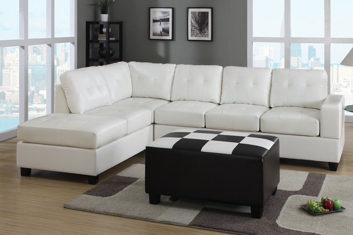 White Leather Sectional Sleeper Sofa