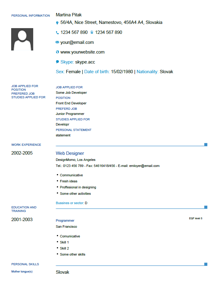 Europass Cv Template For Formfiller With Images Cv Template