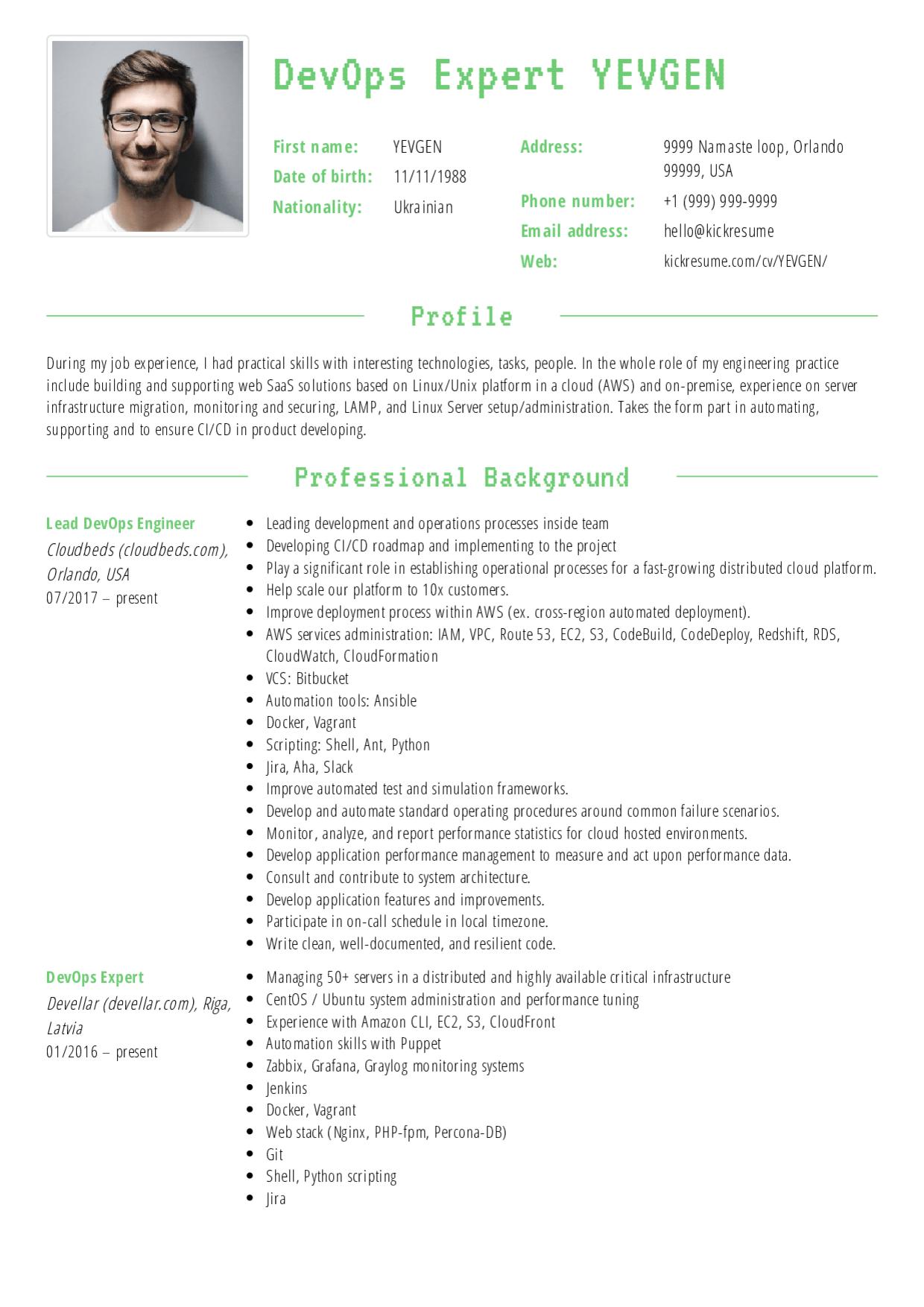 Devops Resume Resume Examples Resume Template Examples Resume