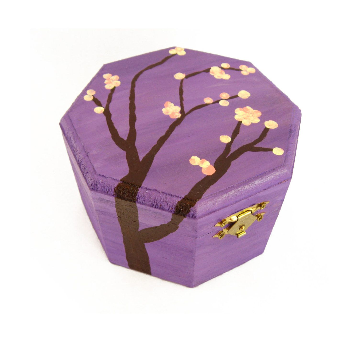 Purple Jewelry Box For Girl Pink Cherry Blossom Jewelry Box Wood