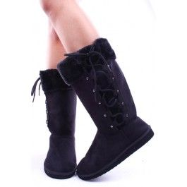 These boots are super cute for the upcoming seasons, lace up side design, fur trim on top, small metallic decals on sides, measures at 12 inches long and 14 inch circumference.