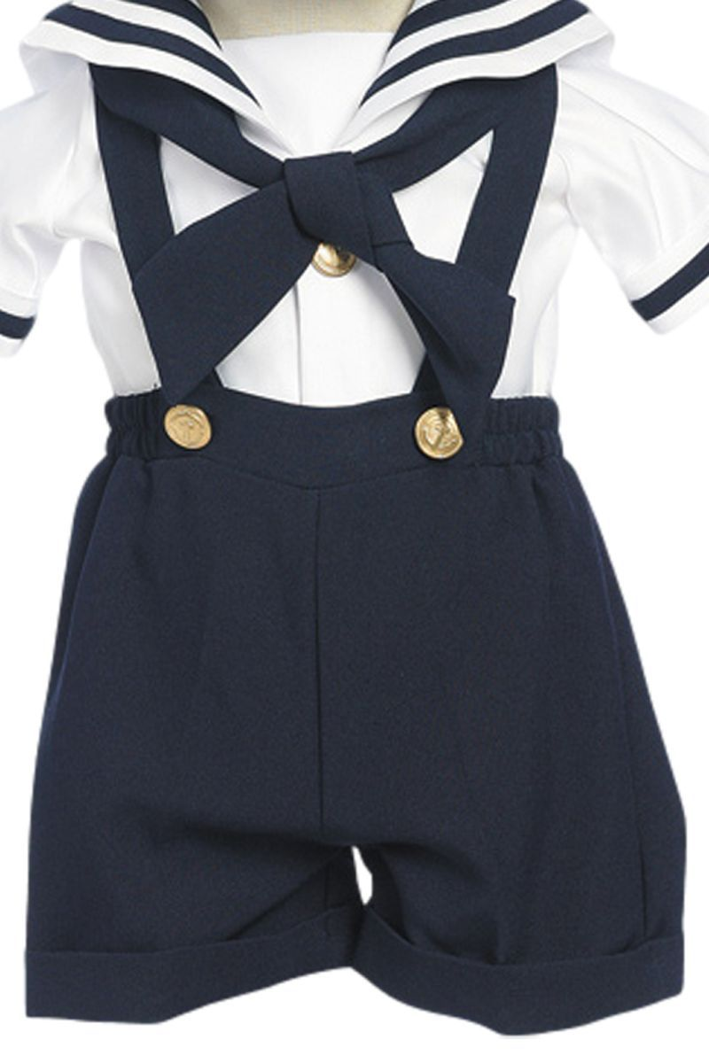 ef332d46b Navy Blue Suspender Shorts Nautical Sailor Outfit with Captain Hat ...