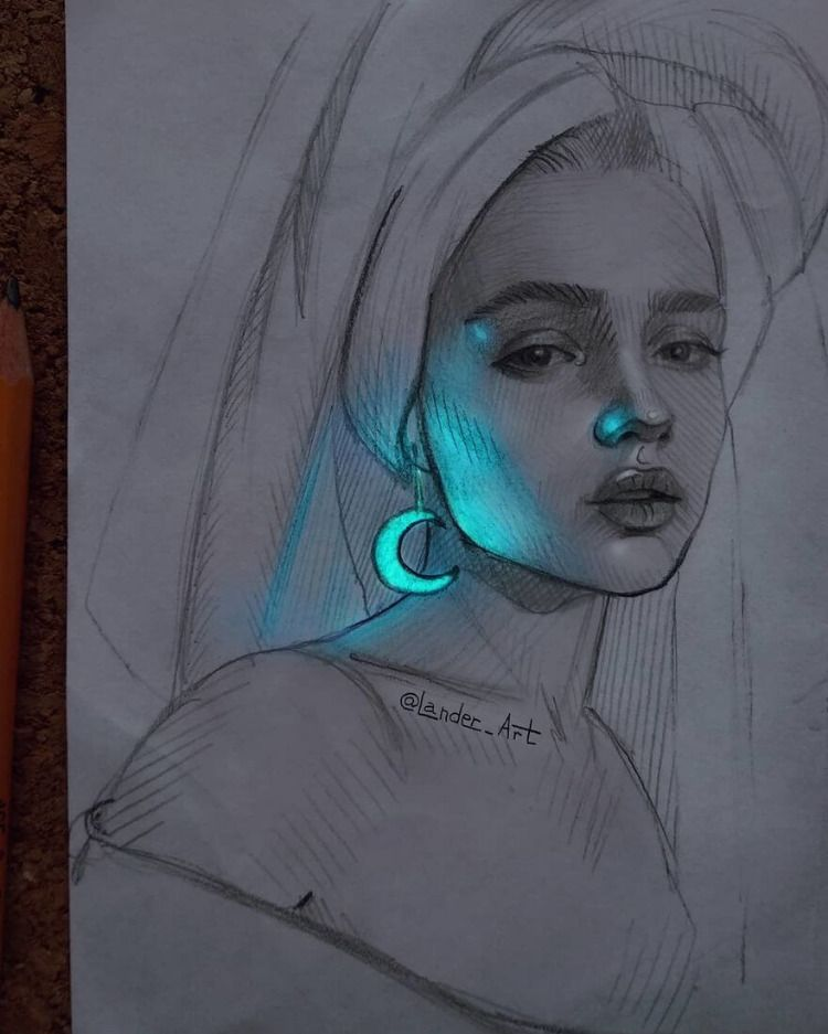 Drawing Portraits With A Flash Of Color Colorful Drawings Portrait Drawing Art Drawings Sketches