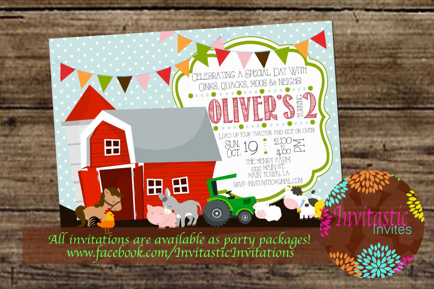 Farm Animal Birthday Invitation Old McDonald Theme Farmer Birthday