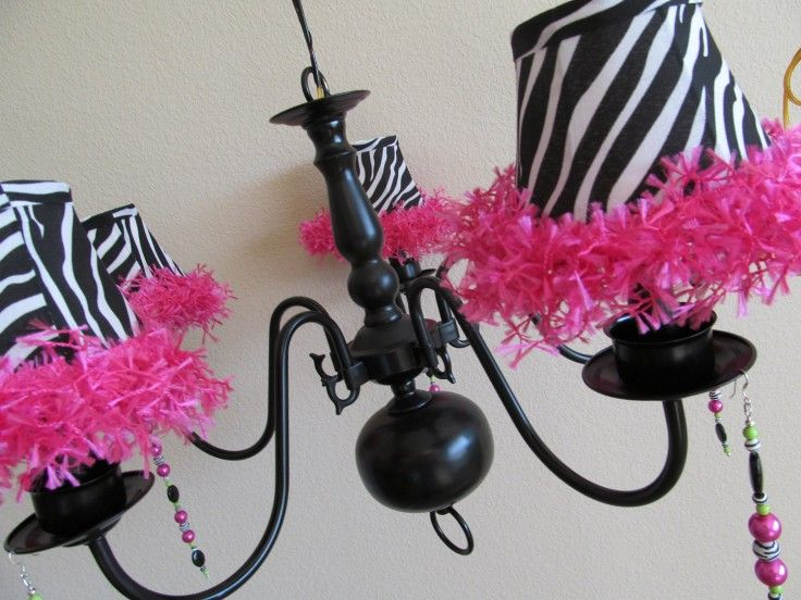 Spray paint old chandelier black and add lamp shades | Natalie ...