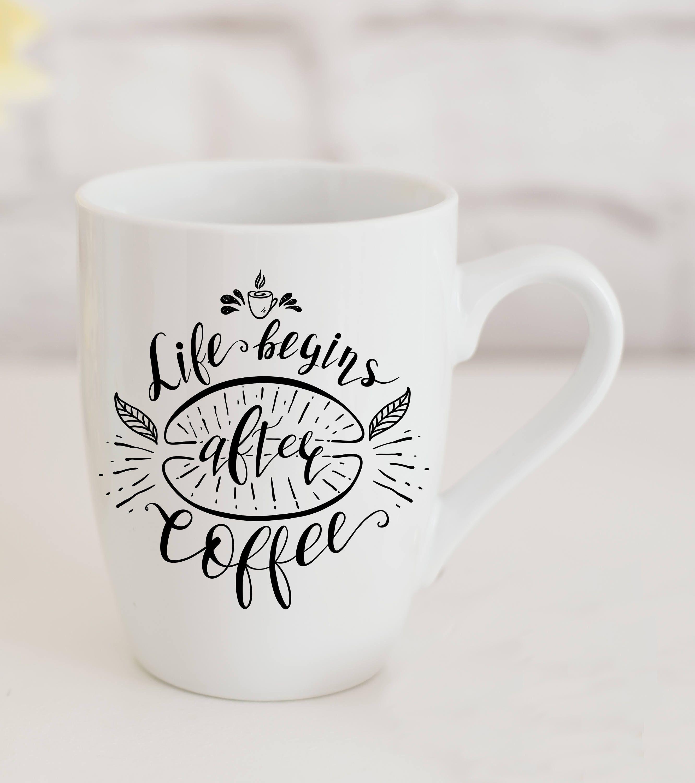 Nice Life Begins After Coffee | Quote Coffee Mug | Cute Typography Gift Mug |  Typography Mug