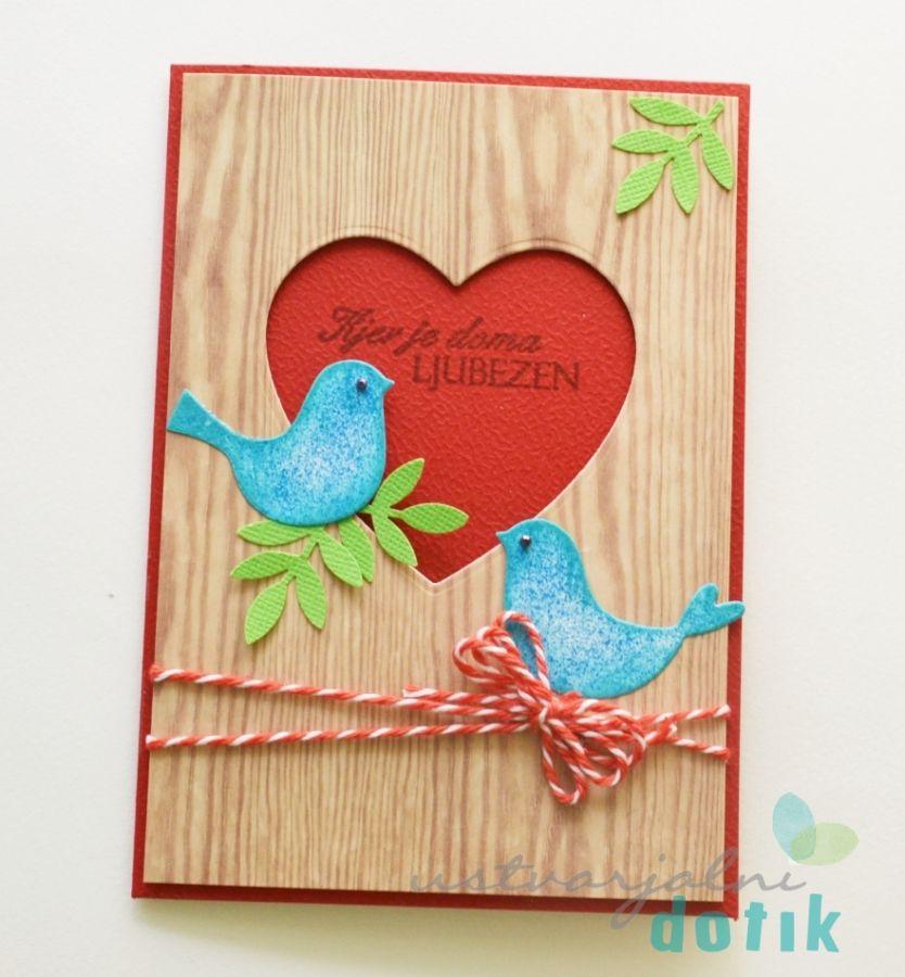 čestitka, Voščilnica, Ljubezen, Dom, Vrvica, Ustvarjalni Dotik, Ptički, Greeting, Love, Home