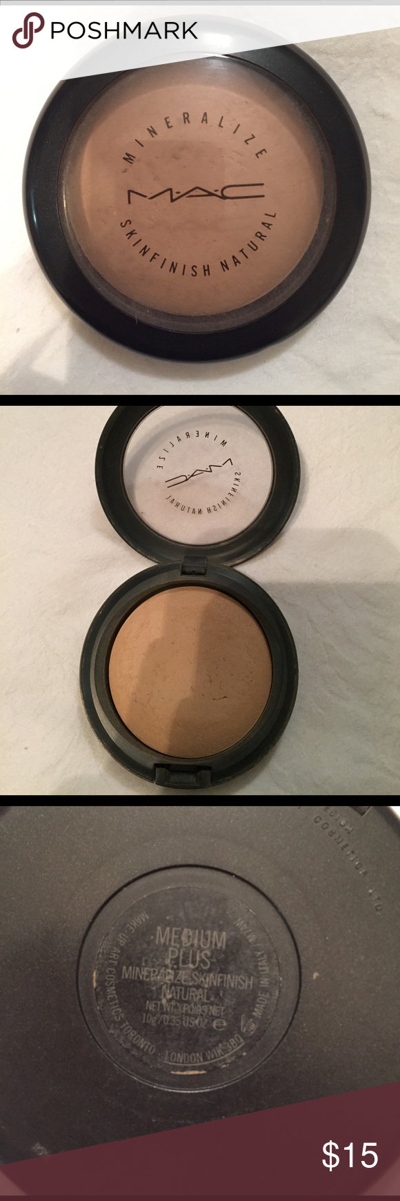 "MAC Mineralize MINERALIZE SKINFINISH NATURAL POWDER IN THE COLOR ""MEDIUM PLUS"" . USED NO MORE THAN A HANDFULL OF TIMES, SO MUCH PRODUCT LEFT MAC Cosmetics Makeup"
