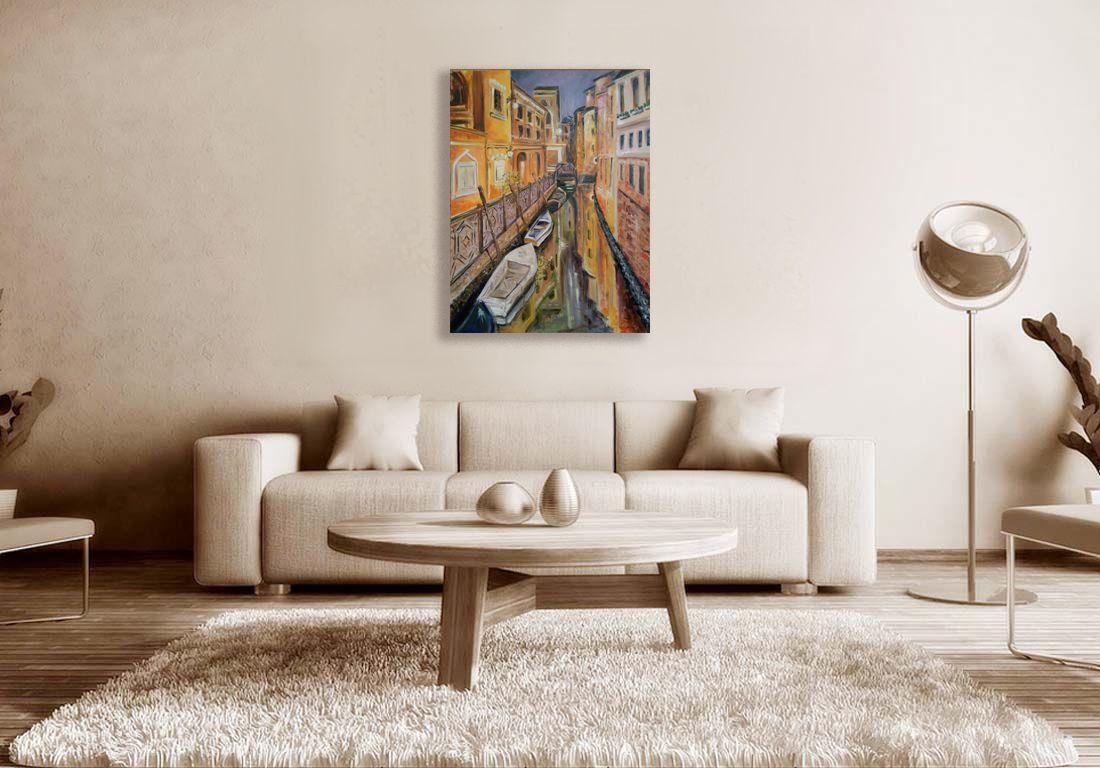 Modern art living room decor large wall art venice night view