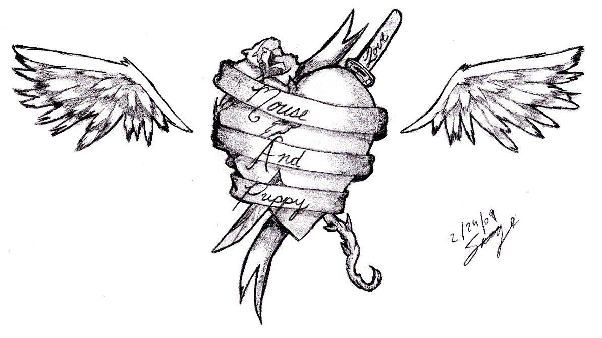 Heart tattoos designs - Ribbon Wings Heart Tattoo Design