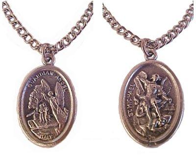 One Medal ~ 2 Saints Guardian Angel & Saint Michael Medal Pendant Necklace