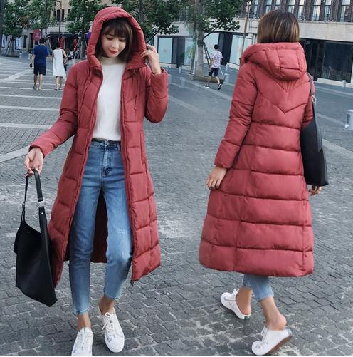 Ultra Light Down Jacket Women Long Puffer Coat Plus Size Winter Cotton Stand Collar Lightweight Jacket