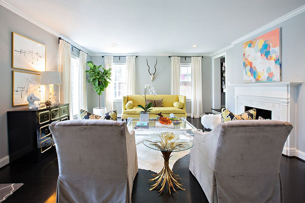 Yellow Couch Becomes The Focal Point Of This Contemporary Living Classy Dining Room Furnitures Design Inspiration