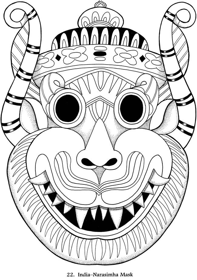 Welcome To Dover Publications Coloring Books Coloring Pages Native American Masks