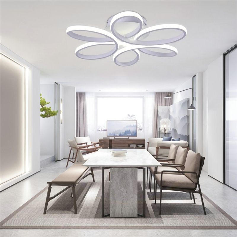 Led Flush Mounting Flower Light Led Ceiling Light Living Room Dining Room With Remote Control Modern Living Room Lighting Ceiling Lights Living Room White Walls Living Room